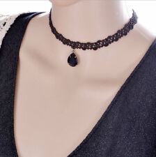 Women Black Lace Flower Chocker Collar Chunky Necklace Gothic Jewelry Gift