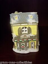 "CERAMIC BOOK STORE GRAY & YELLOW WITH SNOW 5 1/2 "" X  3 1/2"" X 3"""