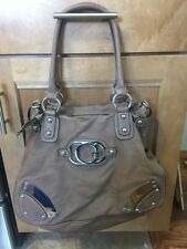 GUESS SIGNATURE HANDBAG LARGE BROWN PURSE CLASSIC *FREE SHIPPING*