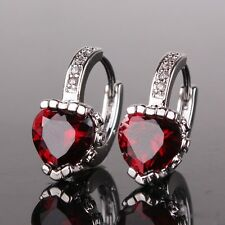 18K White Gold Filled heart shape classic garnet women wedding huggie earrings