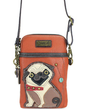 NEW CHALA PUG DOG PUPPY CELL PHONE CROSSBODY PURSE ADJUSTABLE STRAP ORANGE BROWN