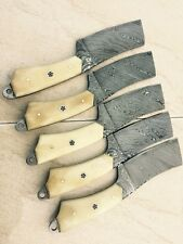 CUSTOM HAND MADE DAMASCUS STEEL HUNTING FIX BLADE KNIFE . 65(lot of 5)