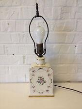 Vintage Tea Caddy Porcelain Lamp w/ Floral Decoration & Gold Highlights