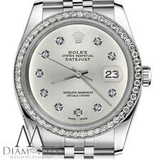 Womens Rolex 26mm Datejust Silver Color Dial with 10 Round Diamond Watch