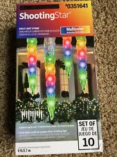 Gemmy Lightshow Shooting Star Multicolor LED 10 Icicle Light Strings 9ft /2.7m