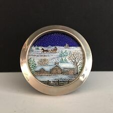 KARIN POHL Limoges Enamel on Copper Miniature Picture Winter Farm Scene SS Frame