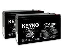 12V 9Ah Sealed Lead Acid Replacement rechargeable Battery KEYKO (F1/F2 adap) 2PK