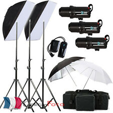 VENTE!! 900W Kit Flash Photo Studio Flash Stroboscopiques 3x300W Têtes de Flash