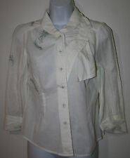 FLOREAT Anthropologie Ivory Teal Blue Gray Embroidered Feathers Bow Shirt NWT 4