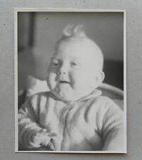 Vintage 30s B/W Photograph. Laughing Baby Boy. Chubby Cheeks
