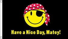 HAVE A NICE DAY MATEY FLAG 5' x 3' Black and Yellow Smiley Face Pirate Party