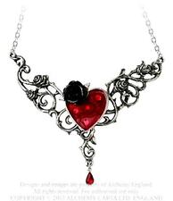New Alchemy Gothic Blood Rose Heart Necklace Pewter Red Crystal Enamel P721
