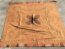 Vintage Antique Victorian Woven Wool Paisley Kashmir Piano Shawl/Scarf-66 X 68