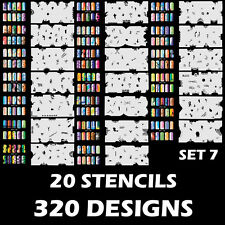 Set 7 320 Airbrush Nail Art STENCIL DESIGNS - 20 Template Sheets Kit Brush Paint