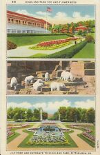 America Postcard - Highland Park Zoo and Flower Beds - Pittsburgh PA  A6898