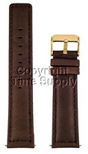 20 mm BROWN CALF LEATHER PADDED WATCH BAND / STRAP NEW GOLD BUCKLE