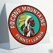 POCONO MOUNTAINS PA. Vintage Style Travel DECAL / Vinyl STICKER, Luggage Label