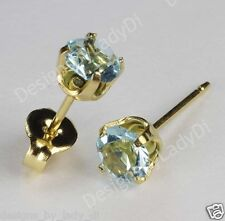 Studex Sensitive Gold 5mm Baby Blue March Simulated Aquamarine Stud Earrings