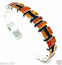 TAXCO MEXICAN 925 STERLING SILVER AMBER MOSAIC MOTIF CUFF BRACELET MEXICO
