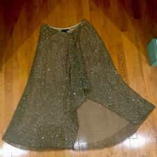NWT! 1,298 RALPH LAUREN BLUE LABEL Asymmetrical Beaded Sequin Mesh Skirt 12