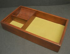 Vtg Wood Jewelry Table Top Tray Trinket Box Desk Organizer Storage 12 x 7 x 2