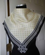 GAP Tricolor Polka and Geometric Designs Small  100% Silk Scarf Made in Italy