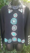 Vtg Michael Simon Size 2 Turquoise Silver Beaded Sweater Cardigan Black