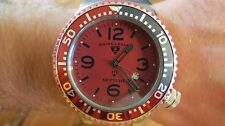 Swiss Legend Men's Neptune Watch Red Dial Stainless Case Silicone Strap