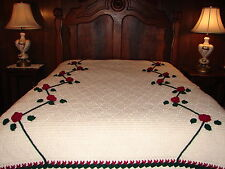 NEW Handmade Crochet Throw Blanket Afghan BEDSPREAD Rambling Rose knitted GIFT
