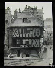 Glass Magic Lantern Slide OLD HOUSES BRITTANY C1920 FRANCE POSSIBLY DINAN