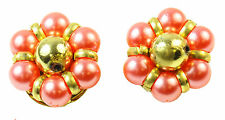 KITSCH LADIES VINTAGE INSPIRED CLIP ON EARRINGS,GOLD TONE/PINK FAUX PEARL(ZX2)