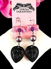 FANTASTIC NIB TARINA TARANTINO CANDY CAMEO BLACK HEART PEARL DROP EARRINGS - $30