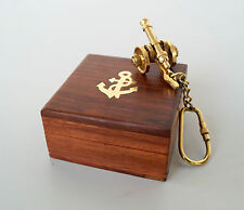 Antique Brass Canon Keychain Nautical Marine With Wooden Box Lot Of 10 Pcs Gift