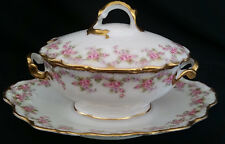 Vintage Limoges France Sauce Tureen Gravy Covered Pink Roses Garland Heavy Gold