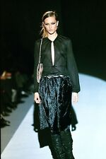 ** GUCCI ** by TOM FORD 1999 VINTAGE RUNWAY LEATHER LOOPS VELVET SKIRT (44)