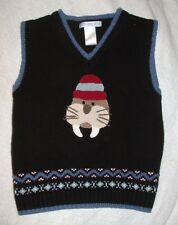 JANIE AND JACK Boys Size 4T Navy Blue ICEBERG FROST Walrus Sweater Vest