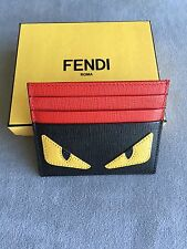 FENDI Red Black Monster bug Yellow Eyes Credit Card Case Wallet saffiano NEW