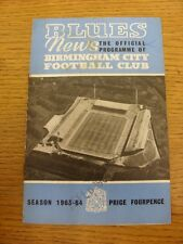 07/09/1963 Birmingham City v Manchester United  (Creased, Marked, Score Noted In