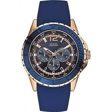 GUESS Mens Maverick Multifunction Blue Silicon Watch W0485G1
