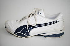 Puma Woman's Girls Shoes Trainers White Blue Leather Fitness Running 4 UK
