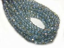 4mm Pale Sapphire Twilight Czech Glass Firepolished Round Beads (50) #2678