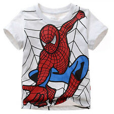 2-7Y Kids Boys Spiderman Shirts Short Sleeve Cotton T-Shirt Tops Casual Clothes