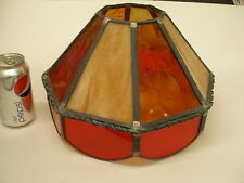 VINTAGE LEADED STAINED ART GLASS OCTAGON DOME CEILING SHADE RED & AMBER GOLD 12""