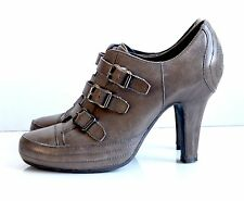Ash women's brown leather buckle  high heel booties shoes size 38