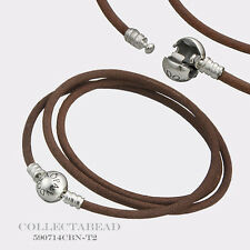 Authentic Pandora Silver Medium Friendship Brown Leather Bracelet  590714CBN