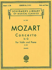 Mozart Violin Concerto No.3 In G K.216 Learn to Play Violin Piano Music Book