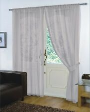 Pair of Silver 59'' x 48''  Voile Net Slot Top Curtain Panel With Tie Back