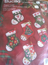 Bucilla Christmas ORNAMENT Felt Applique Holiday KIT,VICTORIAN STOCKINGS,83506