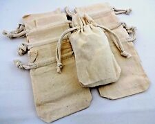 Muslin drawstring bags gusset bottom set of 8 DIY jewelry gift bags