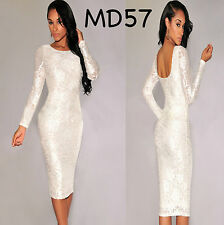 Sz 10 12 White Rose Long Sleeve Bodycon Prom Cocktail Party Slim Fit Midi Dress